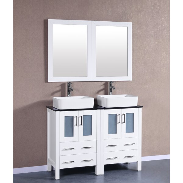 Lannion 47 Double Bathroom Vanity Set with Mirror by Bosconi