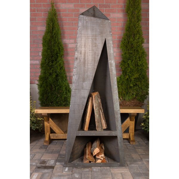 Night Torch Steel Wood Burning Outdoor fireplace by Ember Haus