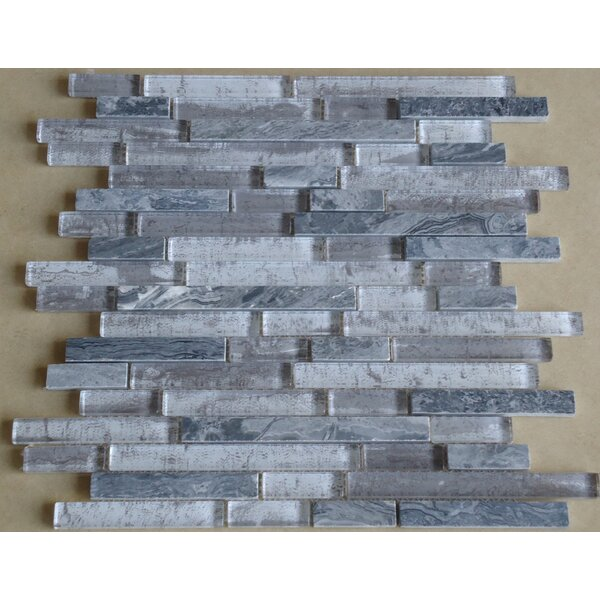 Parallel Random Sized Marble and Glass Mosaic Tile in Gray by Mulia Tile
