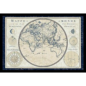 'World Map (Plan De Meridien)' by Sue Schlabach Framed Graphic Art by Buy Art For Less