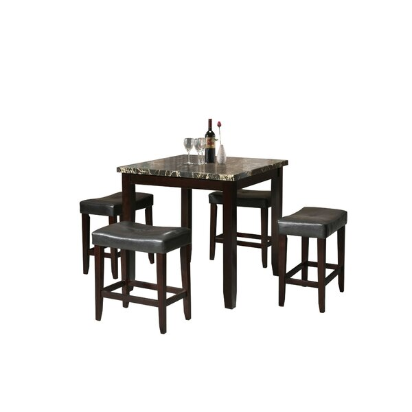 Kroeger 5 Piece Counter Height Dining Set by Charlton Home