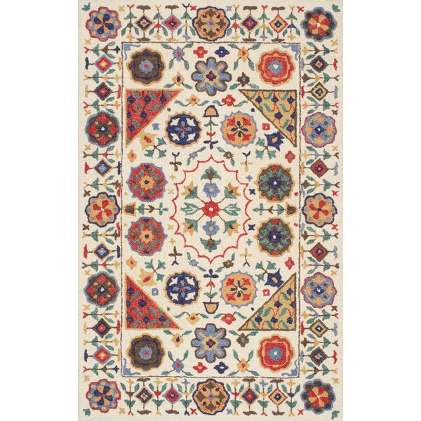 Aqdal Hand-Tufted Beige/Red Area Rug by Bungalow Rose