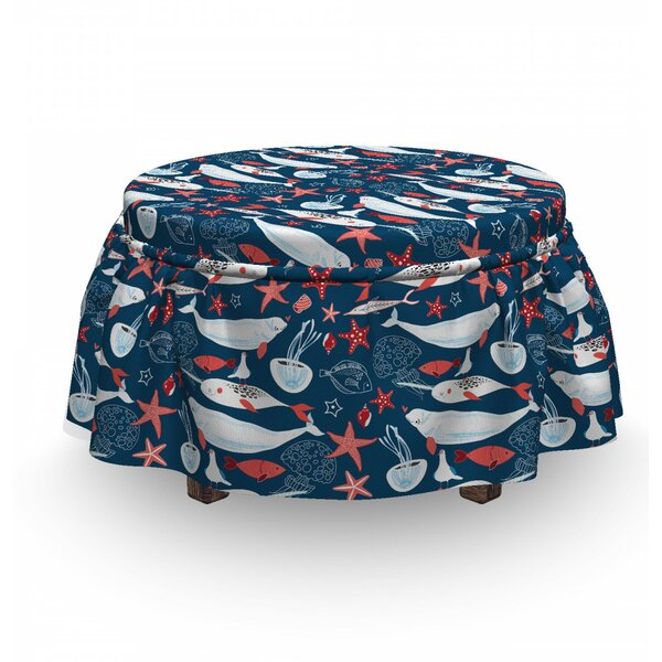Narwhal School Of Fish Narwhal 2 Piece Box Cushion Ottoman Slipcover Set By East Urban Home