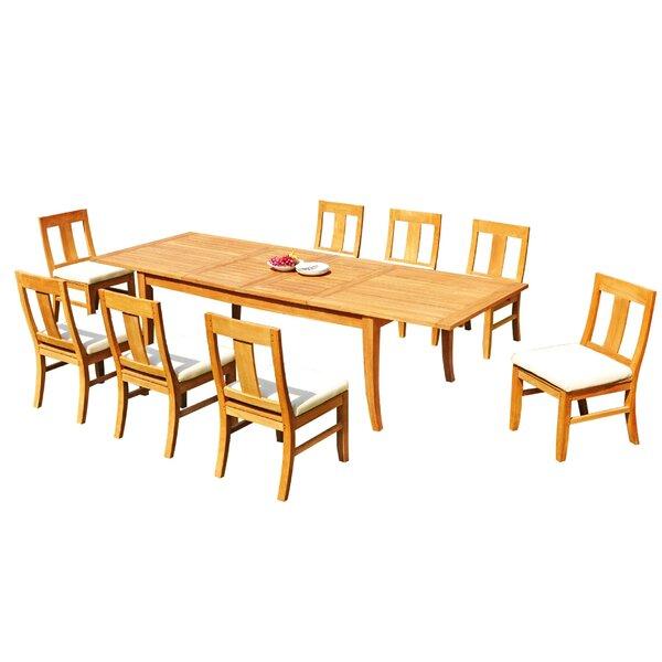 Lancaer 9 Piece Teak Dining Set by Rosecliff Heights