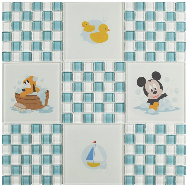 Disney Baby 11.75 x 11.75 Glass Mosaic Tile in Light Blue/White by EliteTile