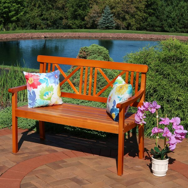 Mexborough 2-Person X-Back Patio Poplar Wood Garden Bench by Charlton Home