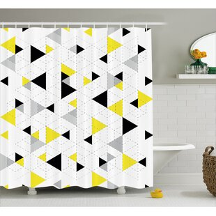 Buy luxury Beau Abstract Triangles Shower Curtain ByIvy Bronx