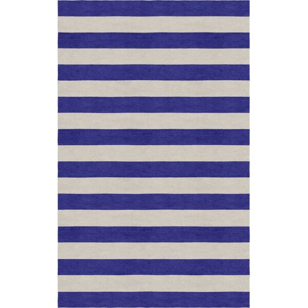 Ceron Hand Tufted Wool Silver/Indigo Stripe Area Rug by Rosecliff Heights