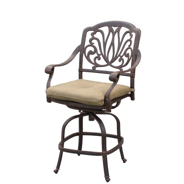 Lebanon 26 Patio Bar Stool with Cushion by Three Posts