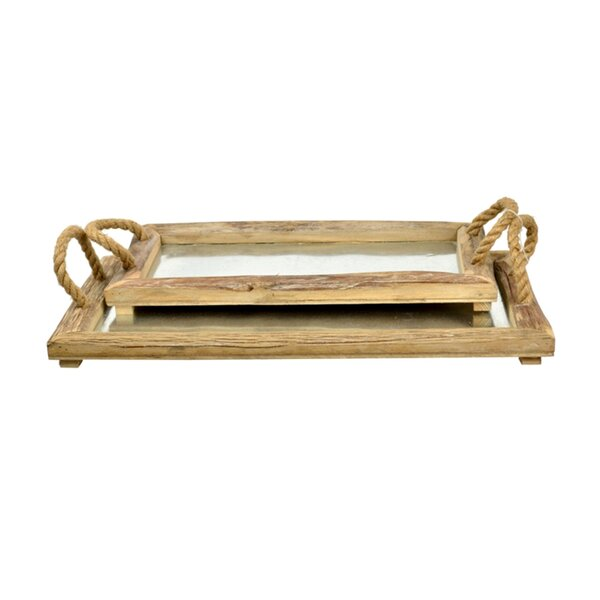 Wood and Metal 2 Piece Serving Tray Set by GT DIRECT CORP