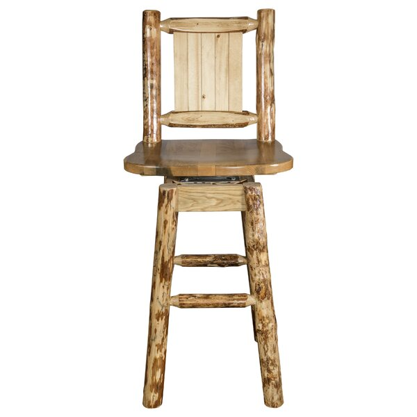 Tustin 24 Square Seat Wood Swivel Bar Stool by Loon Peak