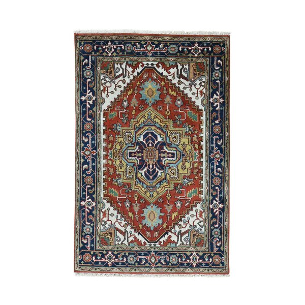 One-of-a-Kind Newcastle Serapi Oriental Carpet Hand-Knotted Red Area Rug by Astoria Grand