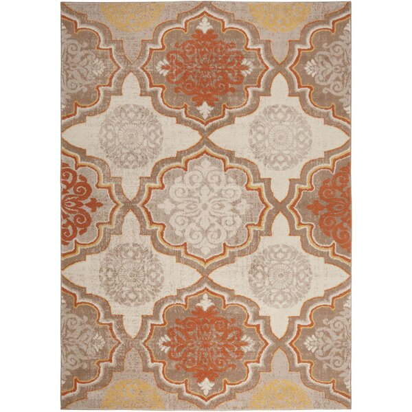 Albion Orange/Gray Area Rug by Winston Porter