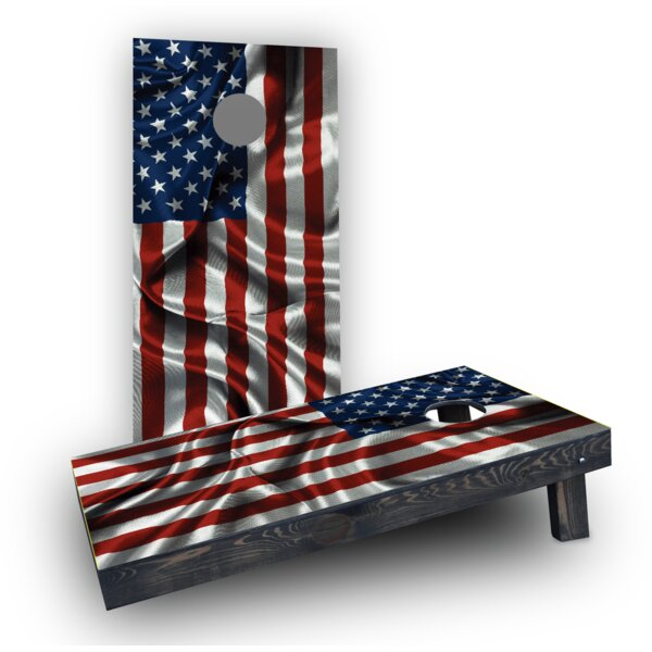 Waving American Flag Cornhole (Set of 2) by Custom Cornhole Boards
