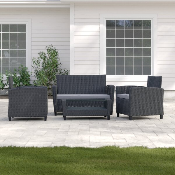 Lancashire 4 Piece Rattan Sofa Seating Group with Cushions by Sol 72 Outdoor