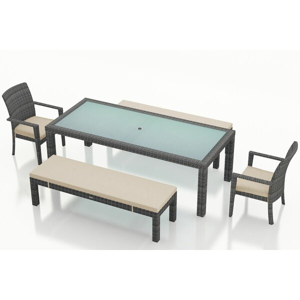 District 5 Piece Sunbrella Bench Dining Set with Cushions by Harmonia Living