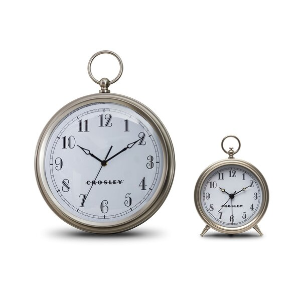 Brushed 2 Piece Table Clock Set by Crosley