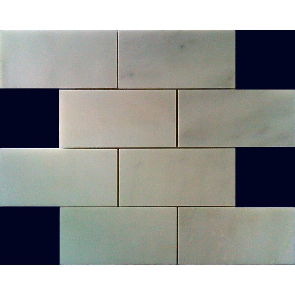 3 x 6 Marble Subway Tile in White Staturary