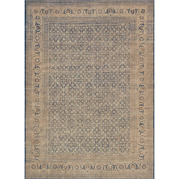 One-of-a-Kind Antique Tabriz Handwoven Wool Indigo Indoor Area Rug by Mansour