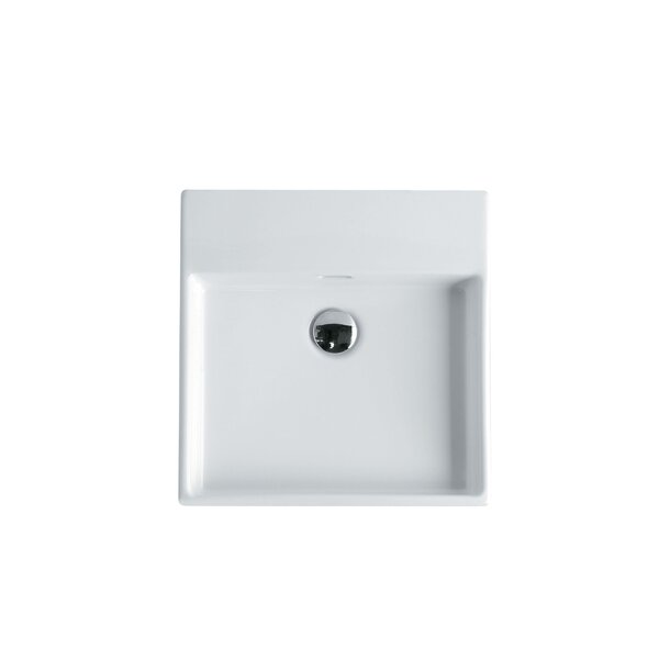 Plain Ceramic 18 Wall Mount Bathroom Sink with Overflow by WS Bath Collections