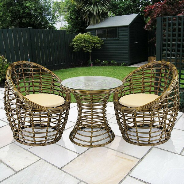Blaney 3 Piece Rattan 2 Person Seating Group by Bay Isle Home