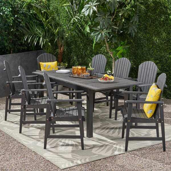 Gabaldon Outdoor Acacia Wood 9 Piece Dining Set by Darby Home Co