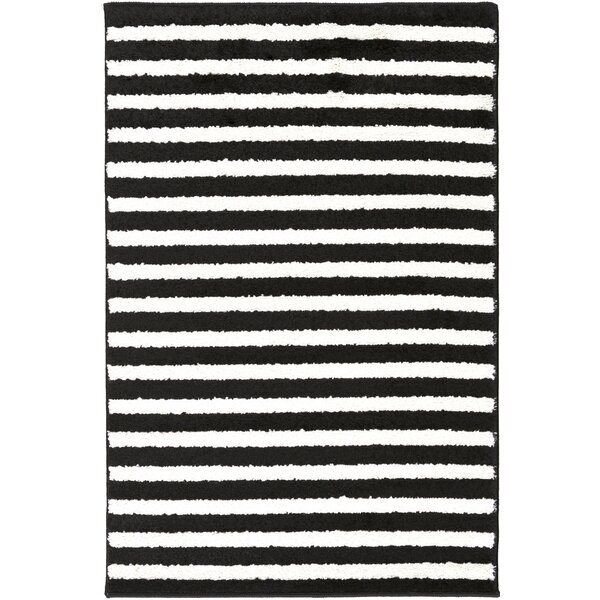 Leamon Stripe Hand-Woven Slate/Pearl Area Rug by Ebern Designs
