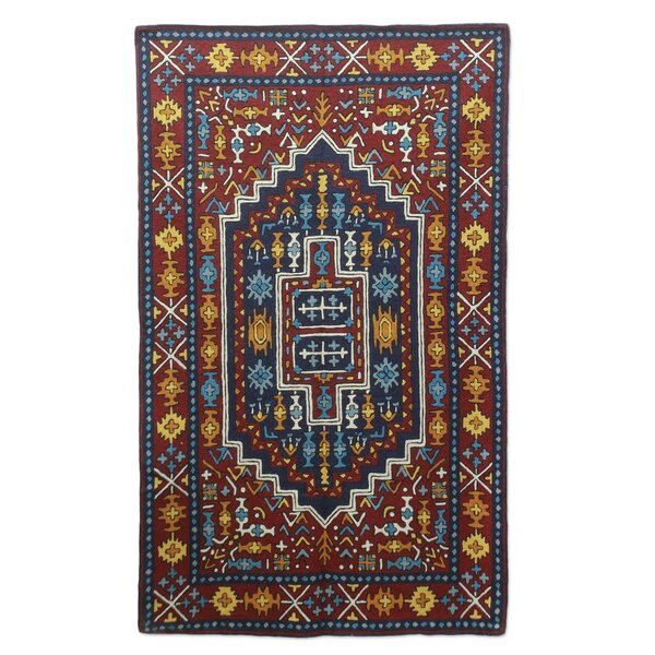 Hand-Crafted Blue/Burgundy Area Rug by Novica