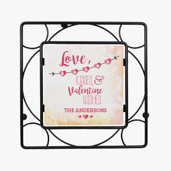 Personalized Love, Kisses and Valentine Wishes Trivet by Monogramonline Inc.