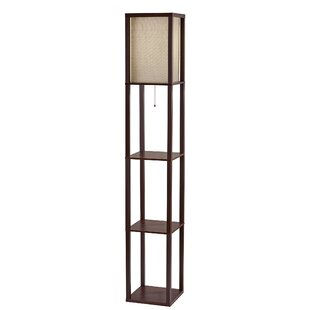 Triple Shelf Brushed Steel Espresso Floor Lamp Ok83