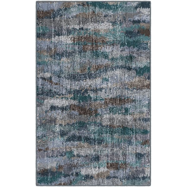Fosse Ocean Waves, Vintage Abstract Blue Area Rug by Wrought Studio