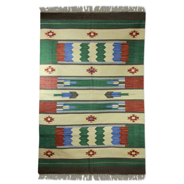 Hand-Woven Green/Beige Area Rug by Novica