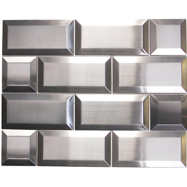 3 x 6 Beveled Metal Mosaic Tile in Silver by Luxsurface