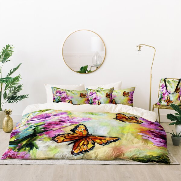 Ginette Fine Art Butterflies and Peonies Duvet Cover Set