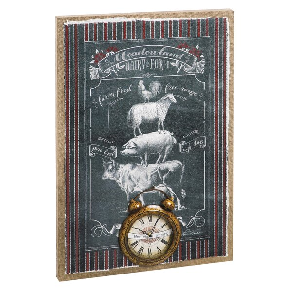 Farm Burlap Canvas Wall Clock by August Grove