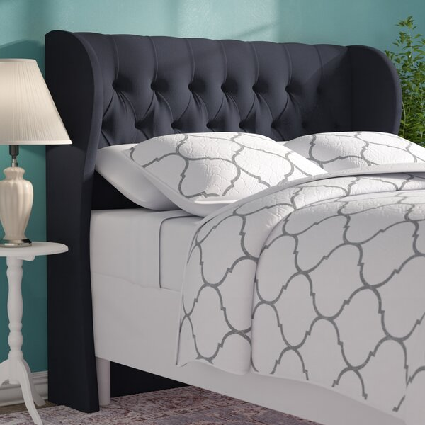 Twill Upholstered Wingback Headboard by Alcott Hill Alcott Hill