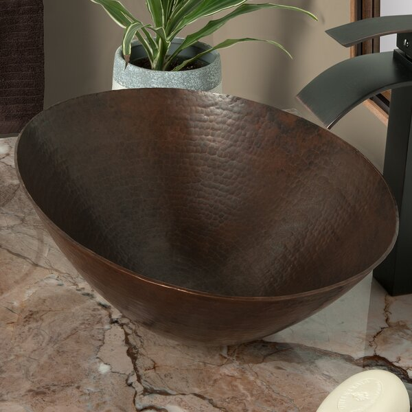 Bilboa Copper Metal Oval Vessel Bathroom Sink by Novatto