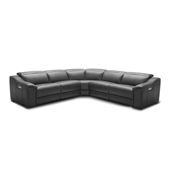 Premium Buy Ozzy Symmetrical Motion Leather Reclining Sectional by Orren Ellis by Orren Ellis