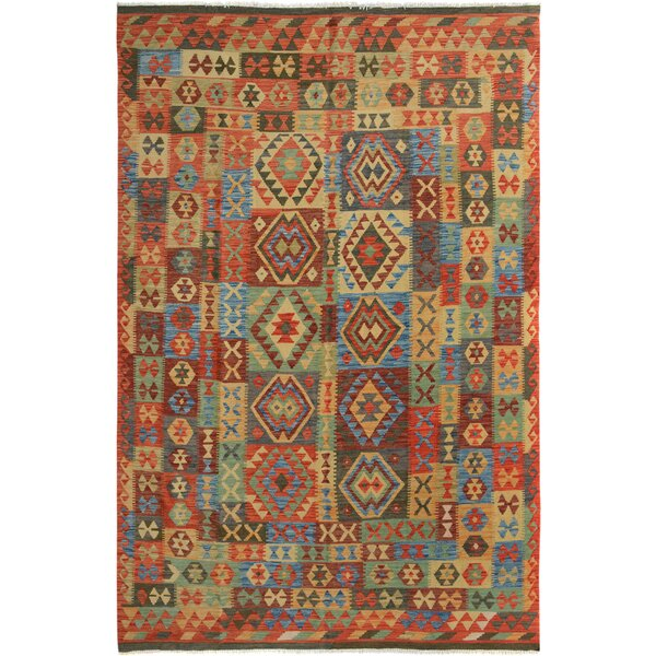 Rosalina Handmade-Kilim Wool Rectangle Blue/Red Area Rug by Bloomsbury Market
