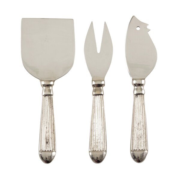 Garan Ribbed Stainless Steel 3 Piece Cheese Knife