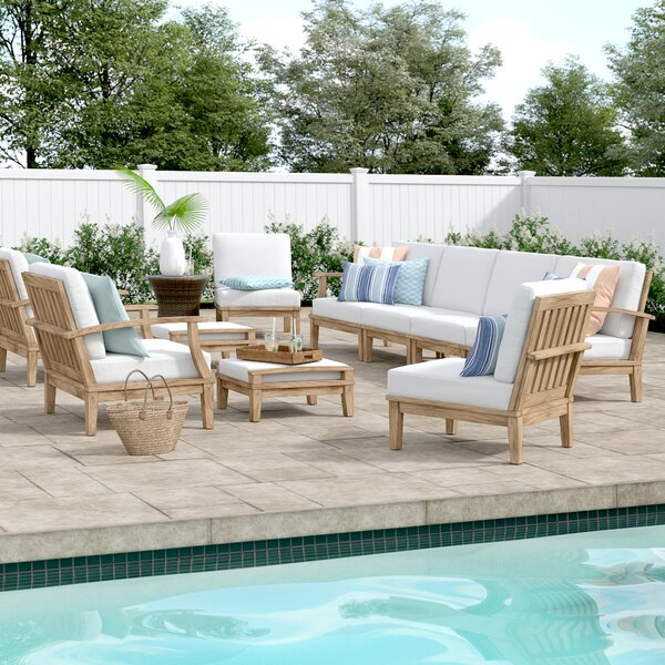 Elaina 10 Piece Teak Sectional Seating Group with Cushions by Beachcrest Home