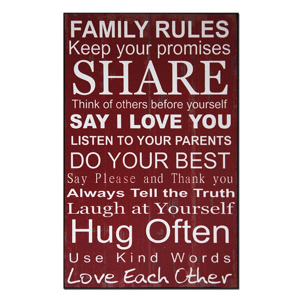 Family Rules Textual Art Plaque by African American Expressions
