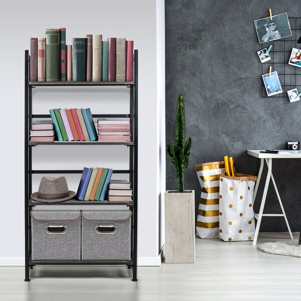 Salvaggio Folding Rack 4-Tiers Storage Rack Standard Bookcase by Red Barrel Studio
