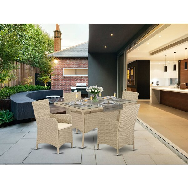 Toro Back Yard 5 Piece Dining Set with Cushions by Wrought Studio