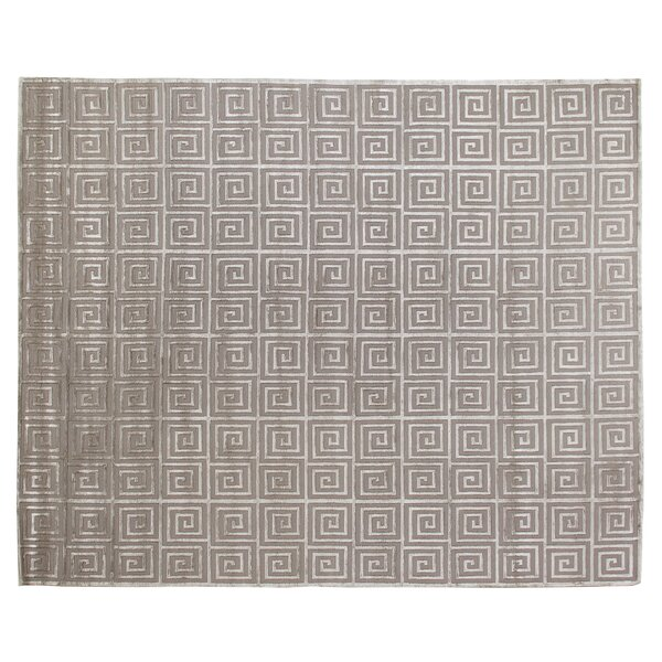 Greek Key Greco Hand-Knotted Wool Silver Area Rug by Exquisite Rugs