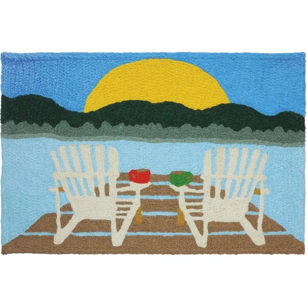 Strohm Sunrise at the Lake Hand-Tufted Blue/Green/Brown Indoor/Outdoor Area Rug by Millwood Pines
