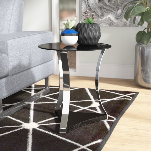 Cassius Glass End Table by Orren Ellis