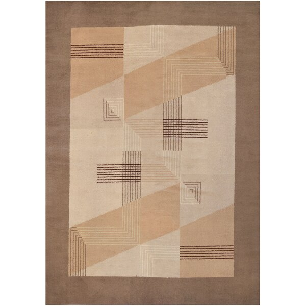 Vintage One-of-a-Kind Deco Handwoven Wool Ivory/Brown Indoor Area Rug by Mansour