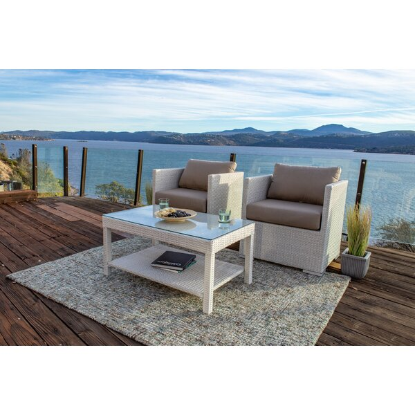 Beulah 3 Piece Seating Group with Sunbrella Cushions by Highland Dunes