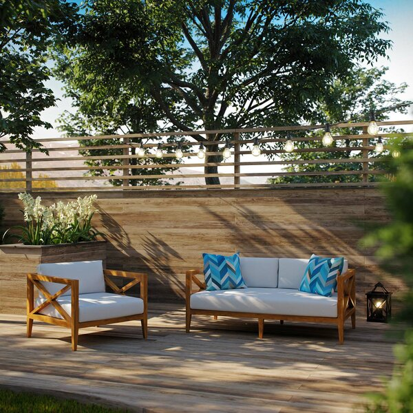 Dowell Outdoor Patio 2 Piece Teak Sofa Seating Group with Cushions by Breakwater Bay